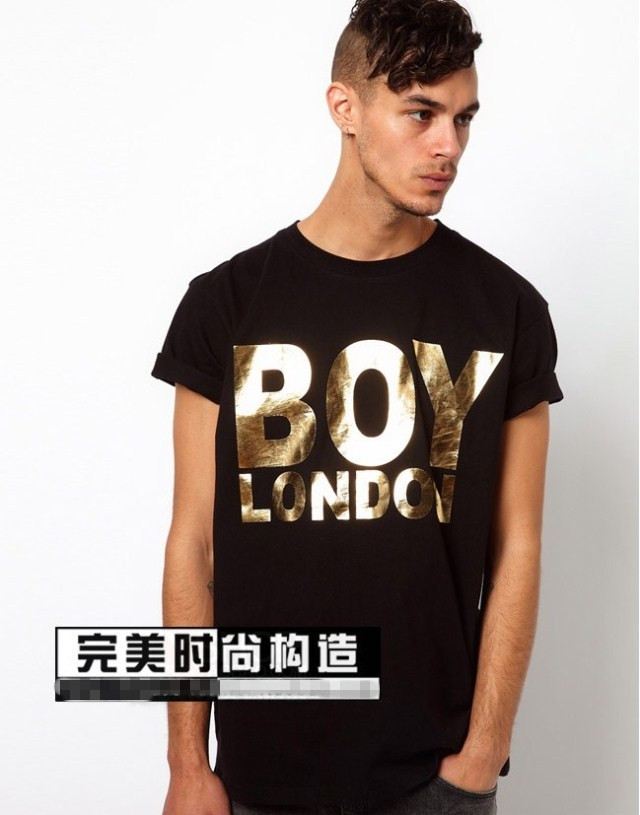 fashion men women gold letter print short sleeve t-shirt shirts lover tops tees black white - spring june's store