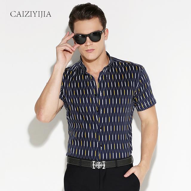 Лето 2016 мужская контраст аргайл плед с коротким рукавом свободного покроя рубашки ...