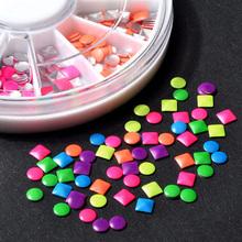 DIY 6 Colors 2-3mm Neon Rivet Round Square Metallic Studs Rhinestone Fashion 3d Nail Art Decoration Free Shipping