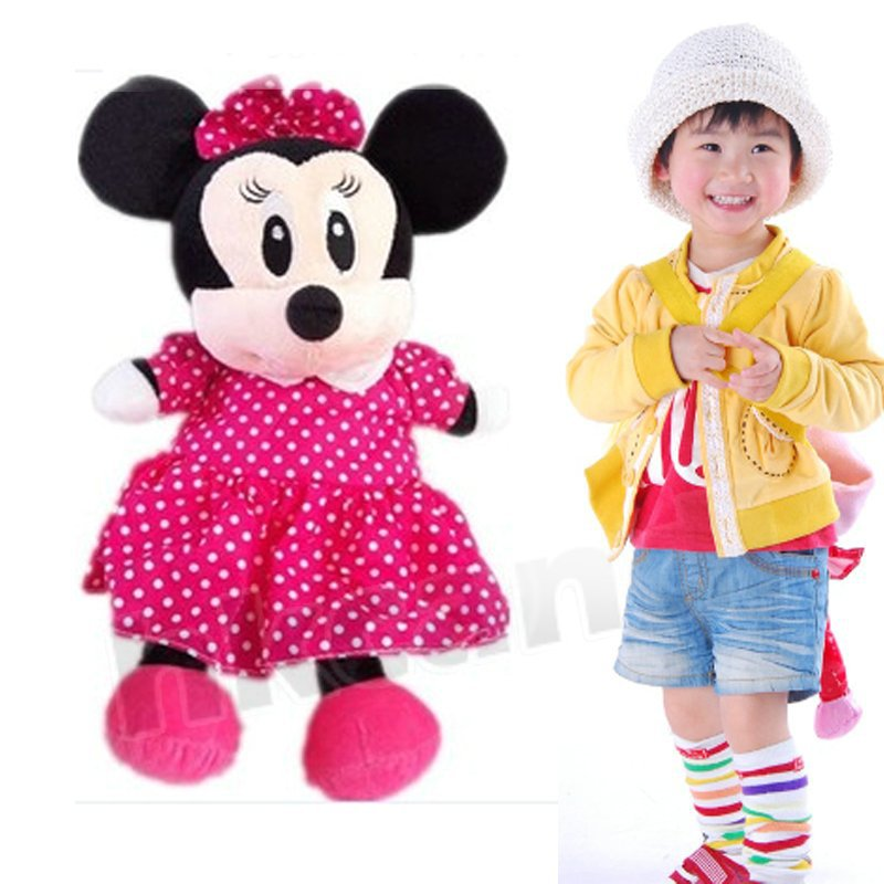 Cute pink minnie mouse stuffed animals backpack kid's bag school bag plush dolls new 01 THH(China (Mainland))