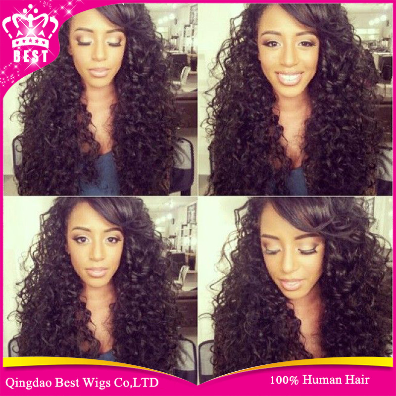 6A Curly Full Lace Human Hair Wigs 100% Unprocessed Brazilian Virgin Curly Human Hair Glueless Full Lace Wig With Bangs Freeship<br><br>Aliexpress