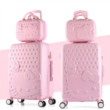 Buy Women Kitty Luggage Set/Girls Candy Color Travel Rolling Suitcase+Cosmetic Case/14'' 20'' 22'' 24'' ABS KT Business Trolley Bags for $115.68 in AliExpress store