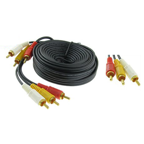 5pc/lot Triple 3 RCA Male to Male Audio Video DVD TV AV Cable 4.6M Long Black(China (Mainland))