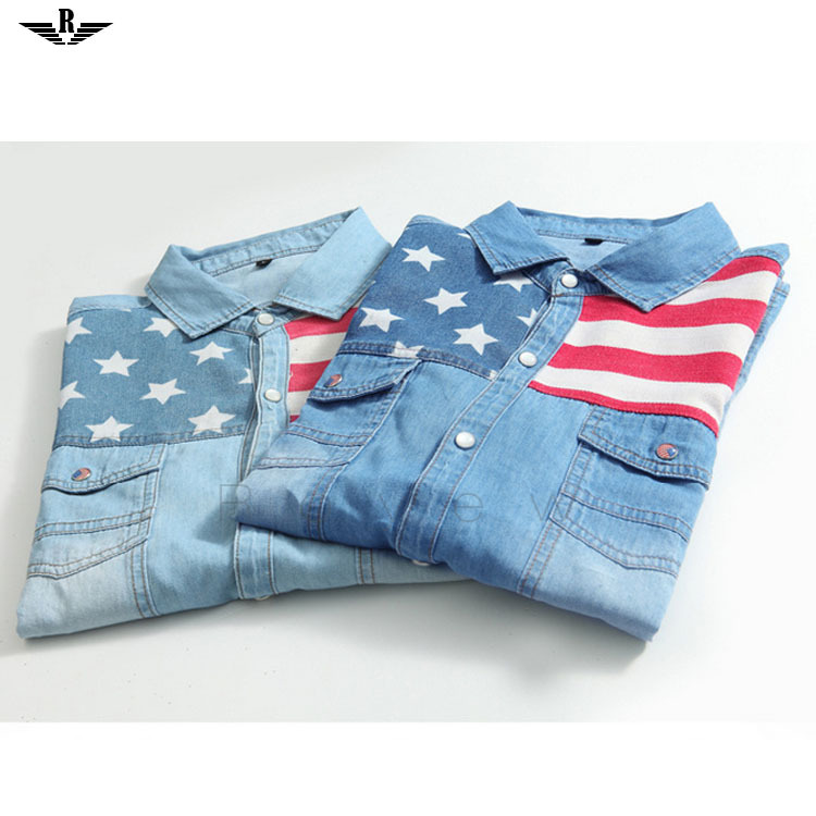 Summer UK USA Flags Printed Striped Shirt Men Casual Slim Fit Camisa Jeans Masculina Male Denim