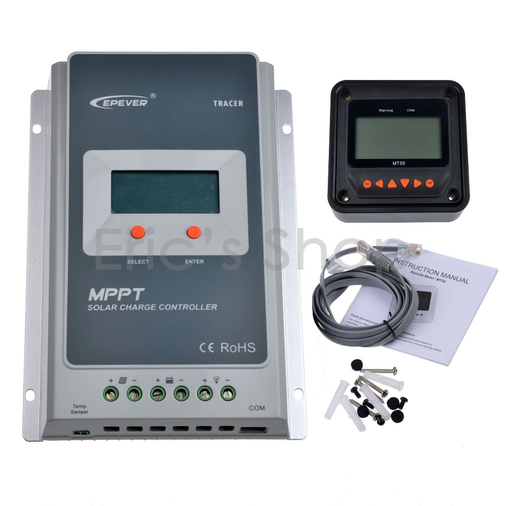 10A MPPT Solar Charge Controller + Remote Meter MT50 EPEVER Battery Regulator 100V PV Input 12V/24VDC With LCD Display(China (Mainland))