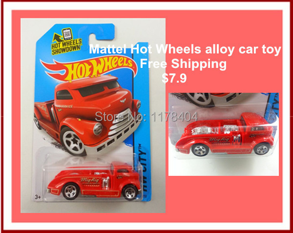 Free Shipping Hot Wheels Red MIG RIG truck model, 1:64 alloy car toys, children's toys(China (Mainland))