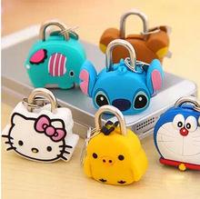 Creative mini padlock cute cartoon silicone doll metal mini padlock lock anti-theft security luggage lock(China (Mainland))