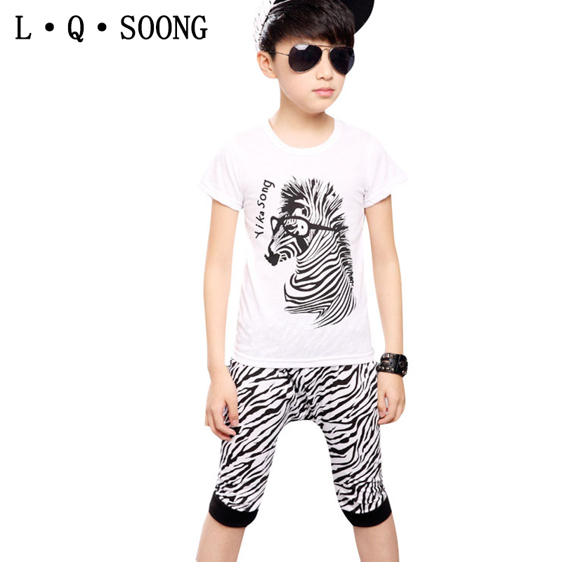 L Q SOONG Brands casual costume for todder kids clothes sets cotton Zebra summer t-shirt + shorts for children boys clothing set(China (Mainland))