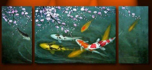 feng shui peinture japonaise koi fish peinture garanti 100 livraison gratuite 3p 1 dans. Black Bedroom Furniture Sets. Home Design Ideas
