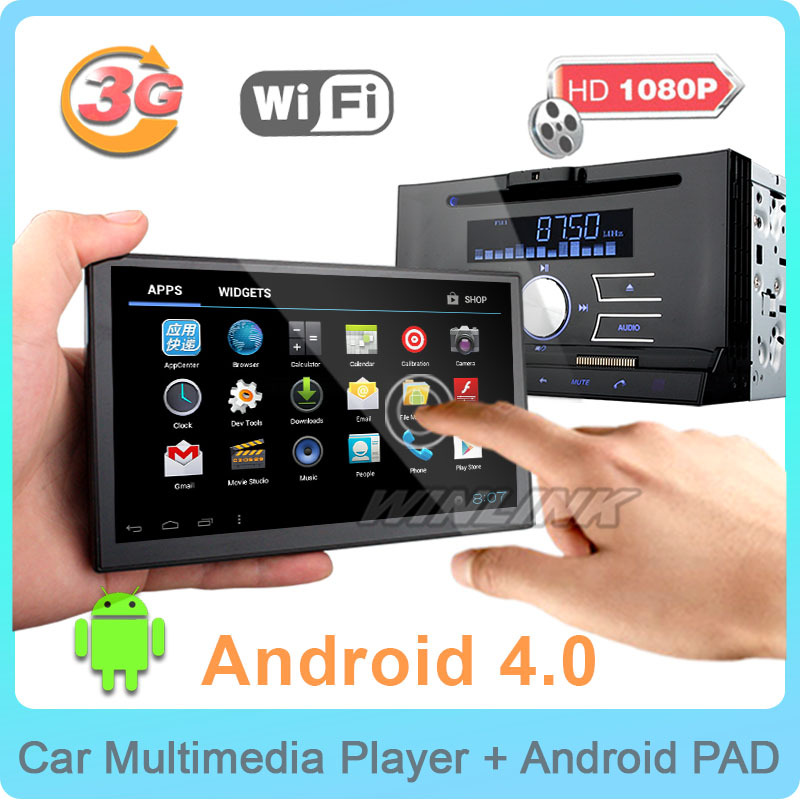 "2015 New 7"" Android 4.0 Car DVD Player universal 2 din car pc Tablet Pad GPS navigation Radio with dvd 3G WiFi BT TV function(China (Mainland))"