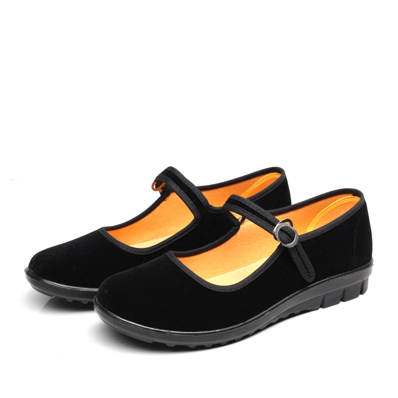 Woman in black Mary Jane shoes flat comfortable etiquette ...