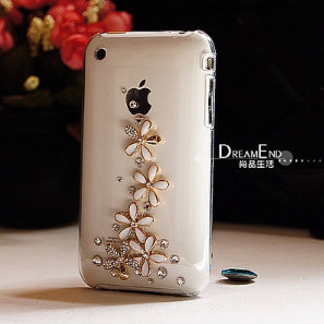 Luxury Rhinestone Crystal Bling Case Cover for iPhone3 3gs free shipping(China (Mainland))