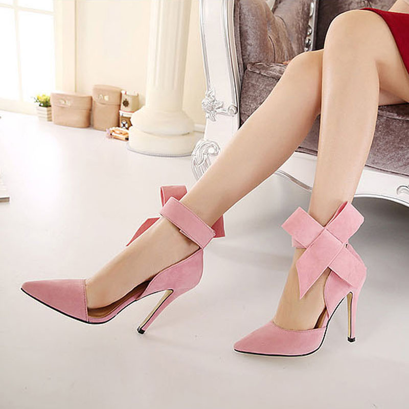 2016 Fashion Bow Suede Pumps Pointed High-heeled Women Shoes Red Black Blue Pink Hollow Women Pumps High Heels Plus Size ZK3.5<br><br>Aliexpress