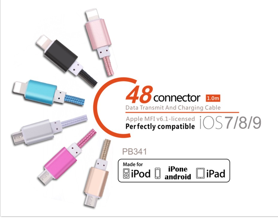 Colorful metal nylon braided 1m 1.5m 3m mobile phone cables long charger micro usb cable For iPhone 5 5s 6 6s plus Samsung sony