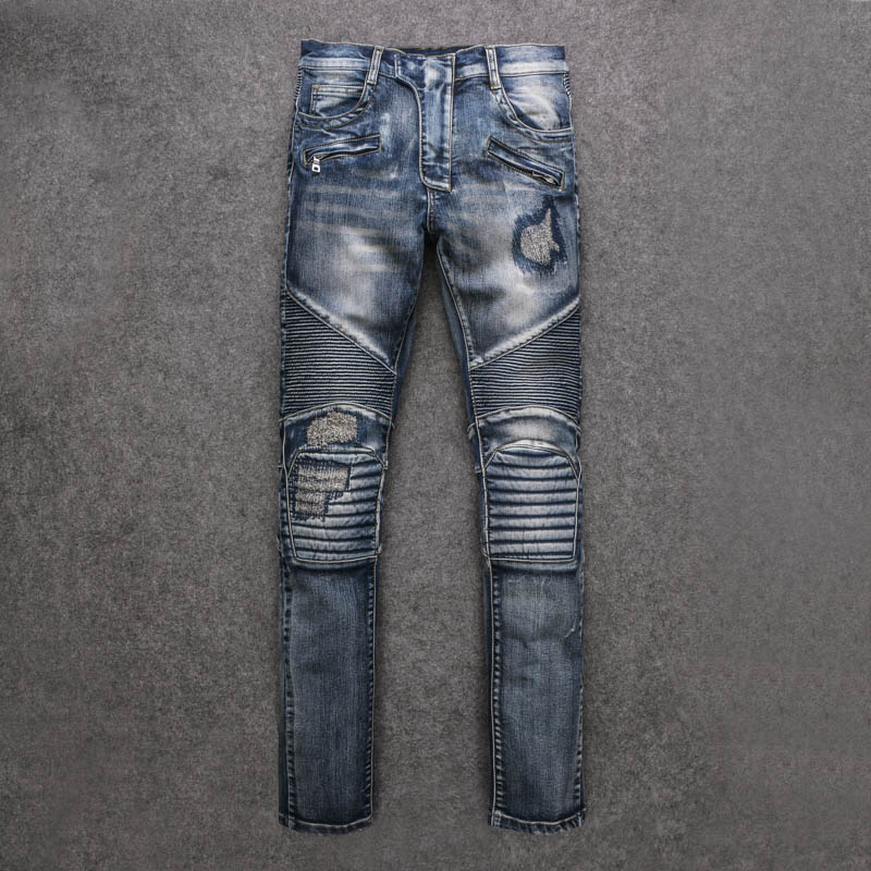 Men Jeans Hot Sale Slim Low 2015 New Punk Locomotive BalMan Jeans Embroidered Patch Tattered Knee