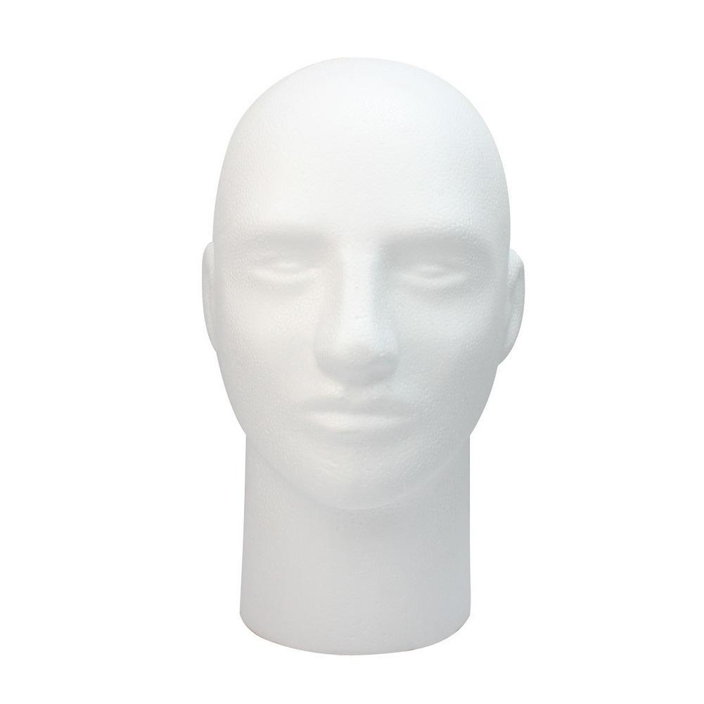 Male Head Stand Model White Styrofoam Foam Mannequin Manikin Head Model Ideal to display hat wigs Glasses jewellery(China (Mainland))
