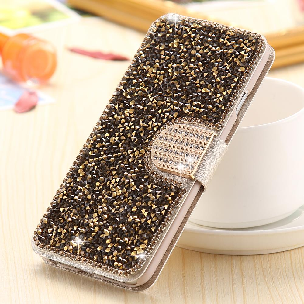 i6 /6S/ Plus Silk Skin Glitter Diamond Wallet Stand Leather Case for Apple iPhone 6 /6S for iPhone 6 /6S /Plus Cover +Card Slot
