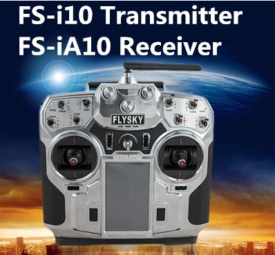 Flysky 2.4G 10ch FS-i10 RC Transmitter with FS-iA10 Receiver for RC Plane Quadcopter Glider<br><br>Aliexpress