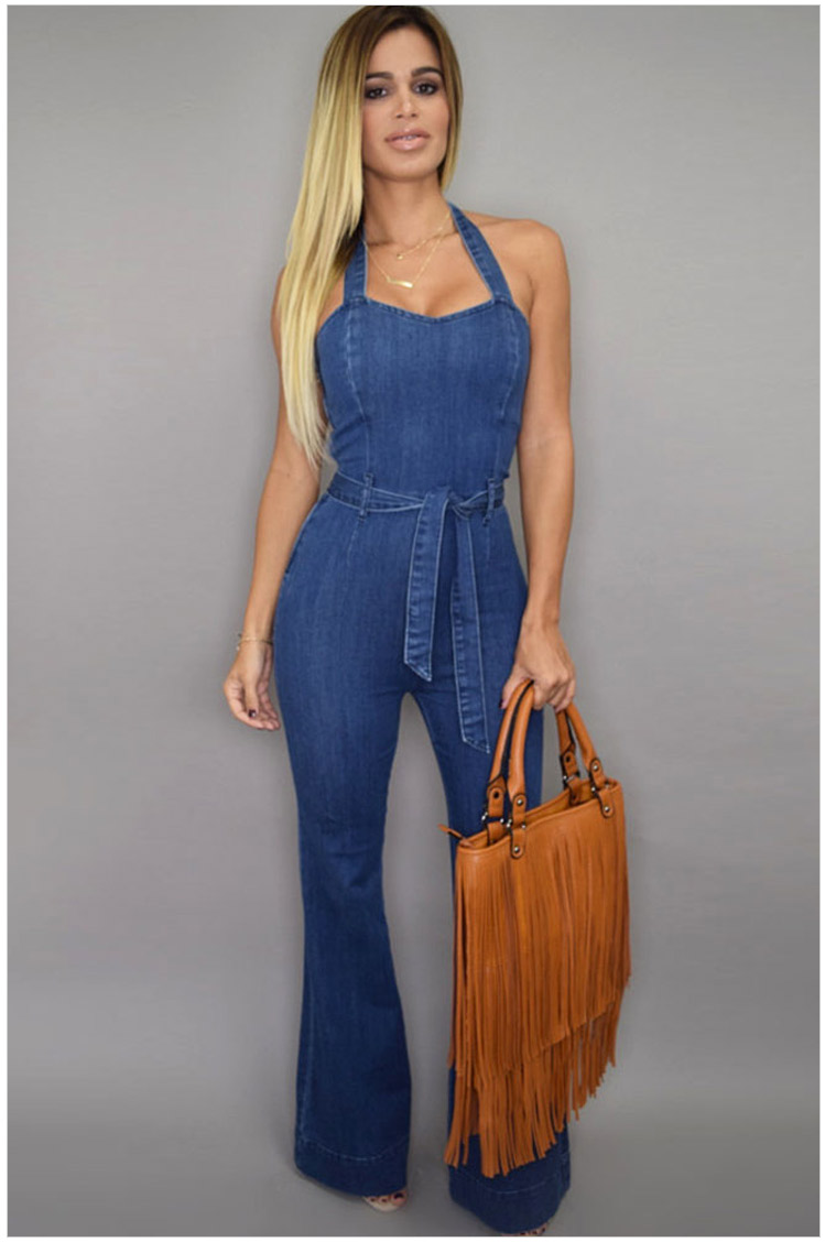 2016 New Fashion Street Style Halter Wide Leg Denim Jumpsuit Playsuit Na60577 Sexy Women Casual