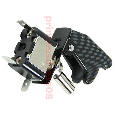 J34 Free Shipping 12V Car Racing On Off Aircraft Type White LED Toggle Switch Control Carbon Cover(China (Mainland))