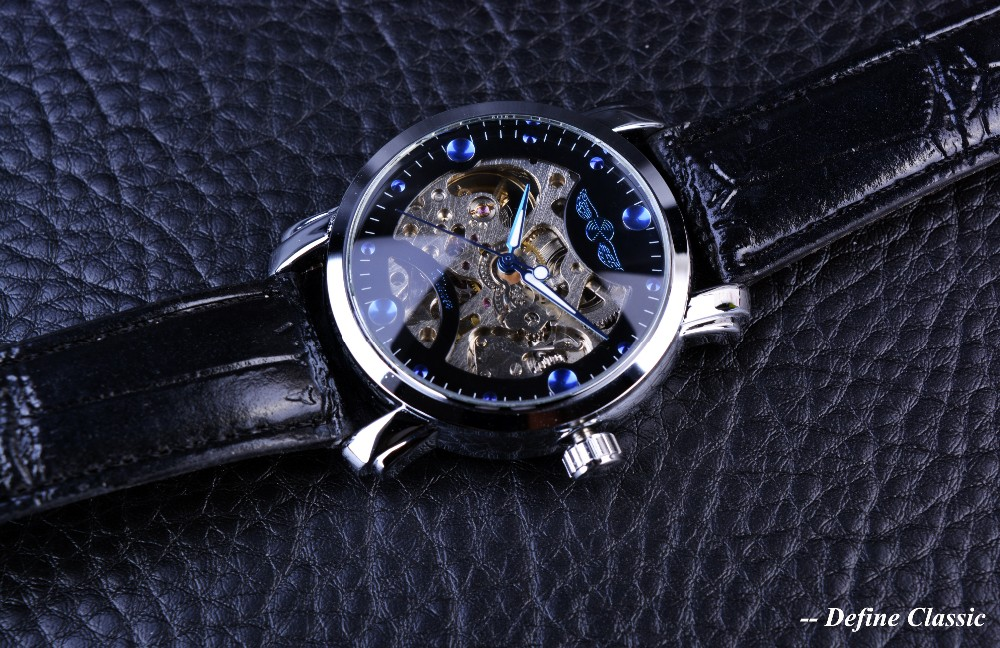 Winner Black Skeleton Designer Blue Engraving Clock Men Leather Strap Mens Watches Top Brand Luxury Automatic Watch Montre Homme