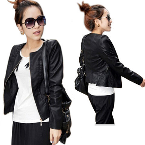 Women Black Leather Jacket Flowers 3D Print O-Neck Long Sleeve Slim Faux Jackets Coats S M L XL XXL - Pretty Lady store