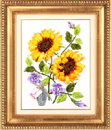 Beginners to practice painting shopping give gift silk ribbon embroidery sunflower interior decoration 3D cross stitch kits(China (Mainland))