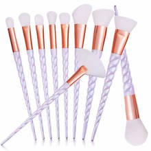10pcs/set Thread Rainbow Handle Unicorn Makeup brushes Beauty Cosmetics Foundation Blending Blush Make up Brush tool Kit Set(China (Mainland))