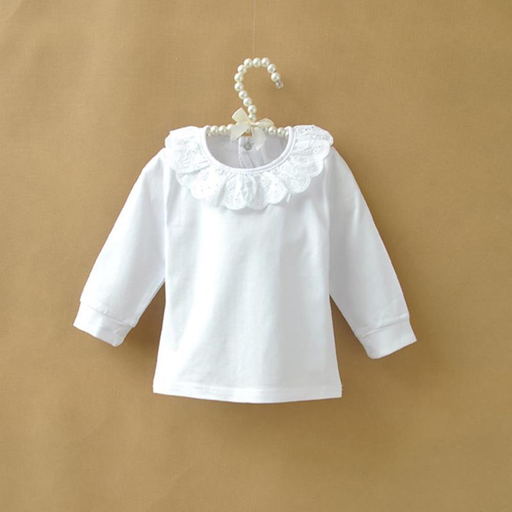 Autumn Children T shirt Baby Girls Tops Ruffle Lace Peter Pan Collar White Shirts for Girls Long Sleeve Kids Shirt Girl Tshirt(China (Mainland))