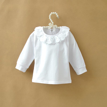 Autumn Children T shirt Baby Girls Tops Ruffle Lace Peter Pan Collar White Shirts for Girls Long Sleeve Kids Shirt Girl Tshirt