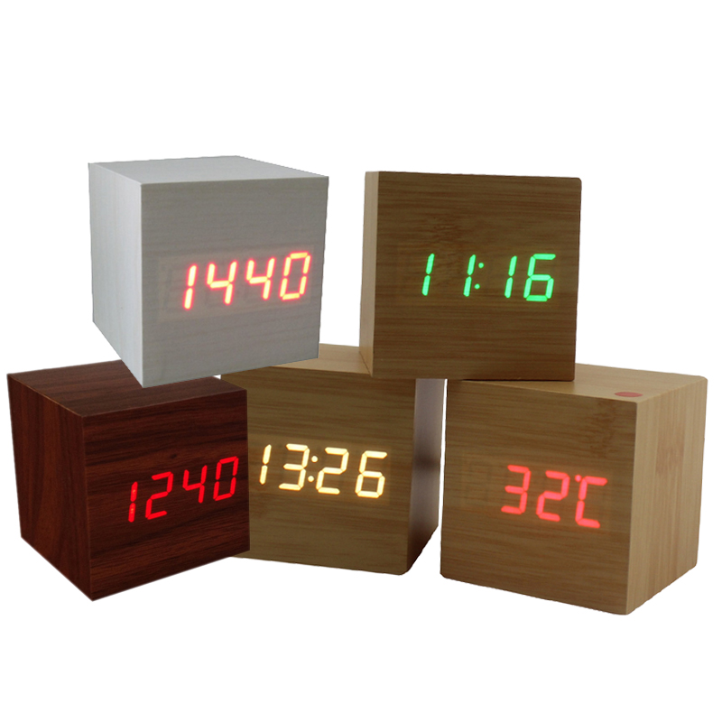 Modern Wood Enelectronic Desk Clock Digital LED Alarm Clock Sounds Control LED Electronic Desk Clock With Temperature Display(China (Mainland))