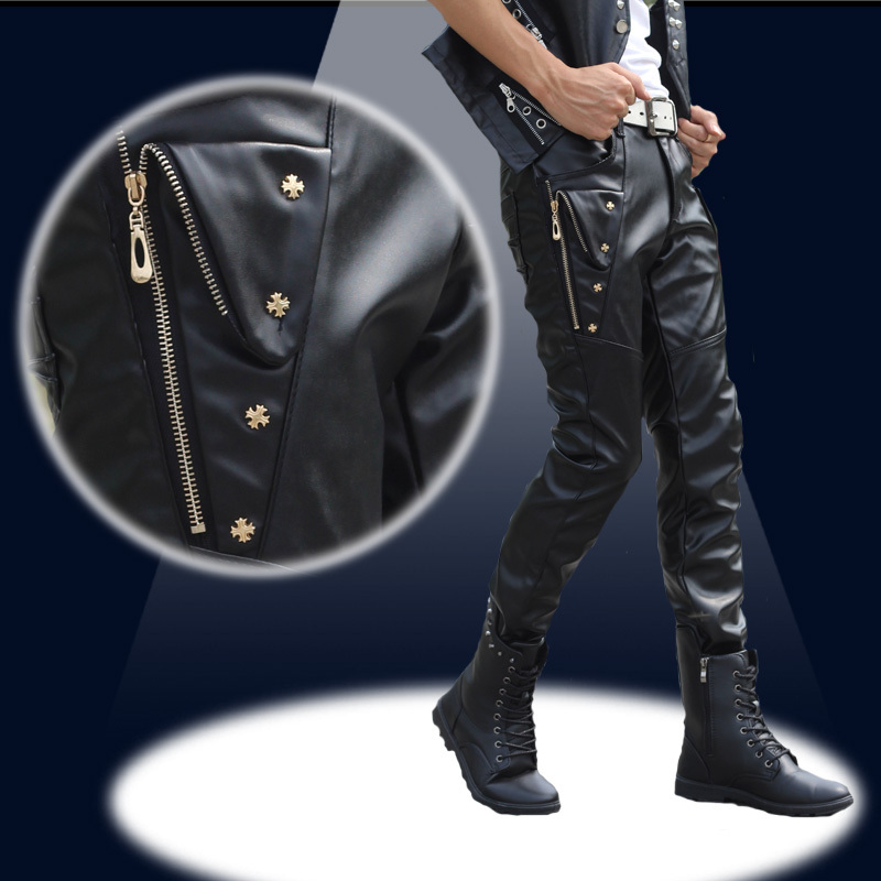 Free shipping! 2014 Korean Slim leather pants tide male male singer stage costumes men's fashion personality black leather pants