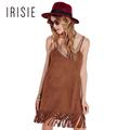 IRISIE Apparel Faux Suede Camel Female Vestido Backless V neck Tassel Mini Dress Women Clothing Sexy