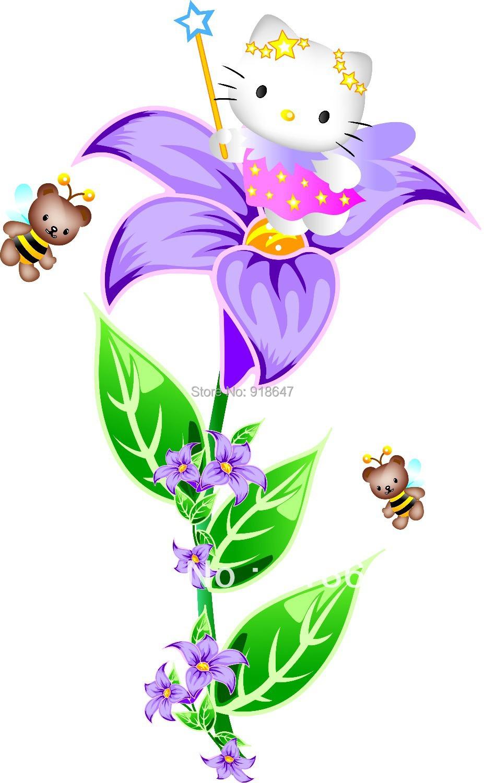 Здесь можно купить  Factory Wholesale hot selling  hello kitty bedroom flower fairy decoration cute cartoon decal Wall Sticker Big 50x70cm 20pcs/lot  Дом и Сад