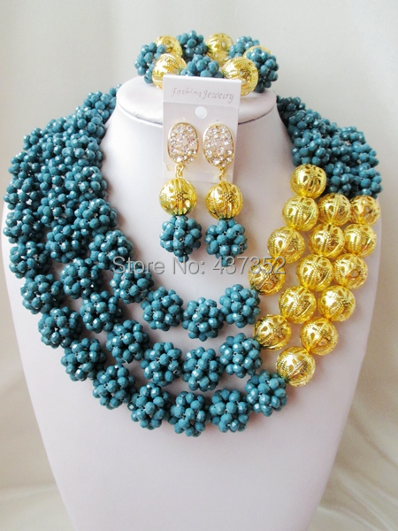 Luxury! Fashion Cadet Blue Teal Blue crystal ball costume jewellry nigerian wedding african beads jewelry set ABC212(China (Mainland))