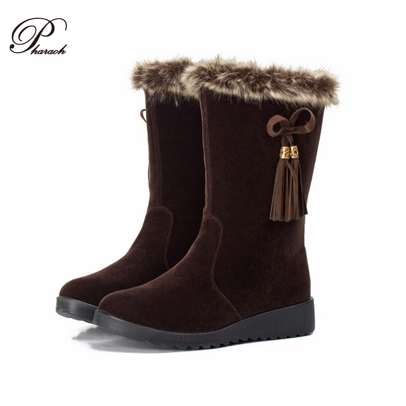 New fashion tassel winter snow boots for women 2016 flat heel lady platform boot winter Cotton shoes(China (Mainland))