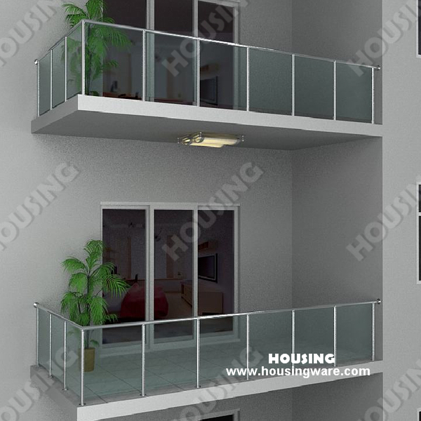 Exterior usage glass railing with simple design for for Simple railing design for balcony