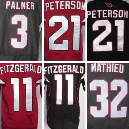 Best quality Red and Black jersey,Men's 3 Carson Palmer 11 Larry Fitzgerald 21 Patrick Peterson 32 Tyrann Mathieu jerseys(China (Mainland))
