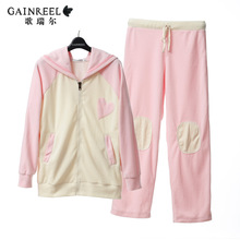 Song Riel autumn and winter fashion simple men and women couple pajamas comfortable fleece hooded tracksuit