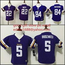 100% stitched baby Minnesota Vikings toddler 5 Teddy Bridgewater 22 Harrison Smith 84 Cordarrelle Patterson Embroidery Logos(China (Mainland))