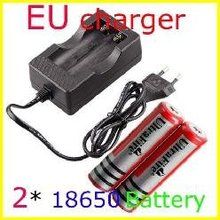 Free shipping 3.7V 18650 Double Batteries EU Wired Charger without 18650 3000mAh Protected Batteries Suit(EU Plug)