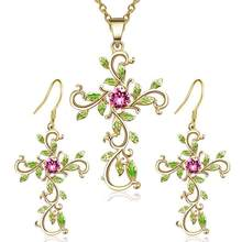 DreamBell Women Dangle Earrings+ Pendant Necklace Stylish Elegant Cross Color Jewelry Pendant Set for Wedding Party(China)