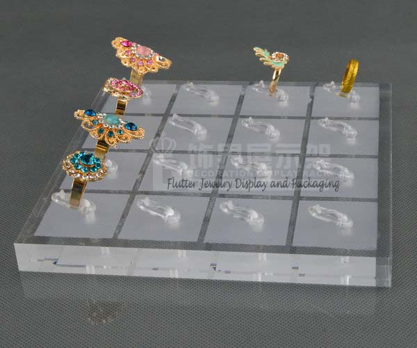 Wholesale 4pcs/lot Square Acrylic Ring Display Rack 16-Ring Clips Holder Ring Organizer Showcase Showing Tray(China (Mainland))