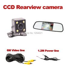 wire Car Rear View Parking Camera Waterproof IP68 Reverse Backup +4.3 imch mirror monitor