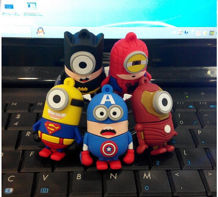 4GB 16GB 8GB 32GB Wholesale Spider superman Iron Batman Minions pendrive thumb Memory Stick 2.0 USB Flash drive Free shipping(China (Mainland))