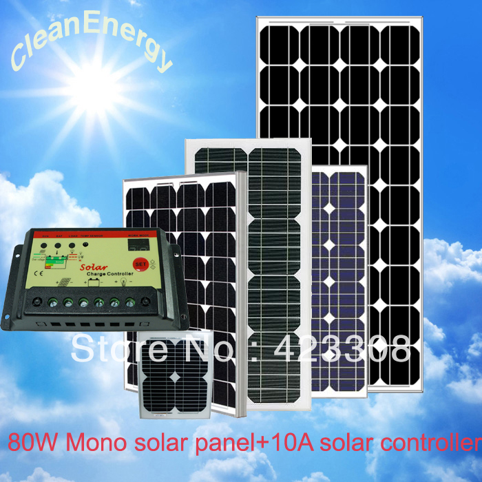 80W Mono solar panel and 10A solar charge controller for 12V battery system(China (Mainland))