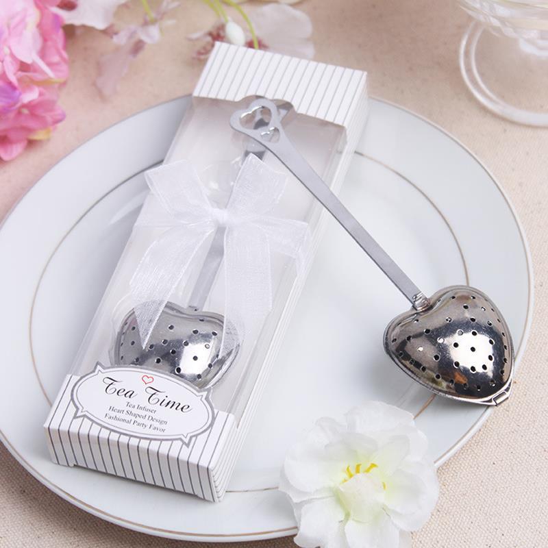 Free shipping 10pcs heart shaped tea leak wedding favors for Obsequios boda