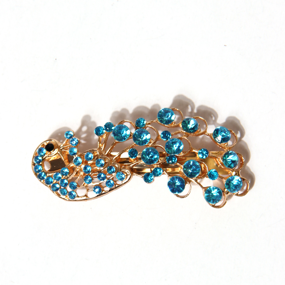Women Lady Peacock Crystal Rhinestones Mini Fashion Hairpin  -  Anne Beauty store