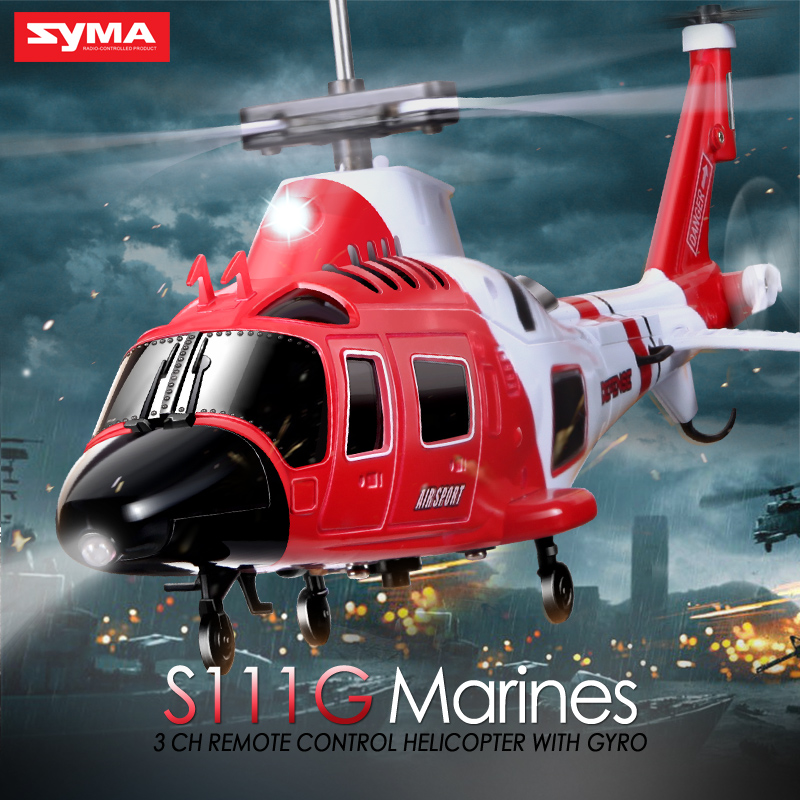 SYMA S111G 3.5CH 2.4GHz LED Lights Flashing Easy Control RC Helicopter with Gyro Shatterproof Marines Gunships Simulation(China (Mainland))