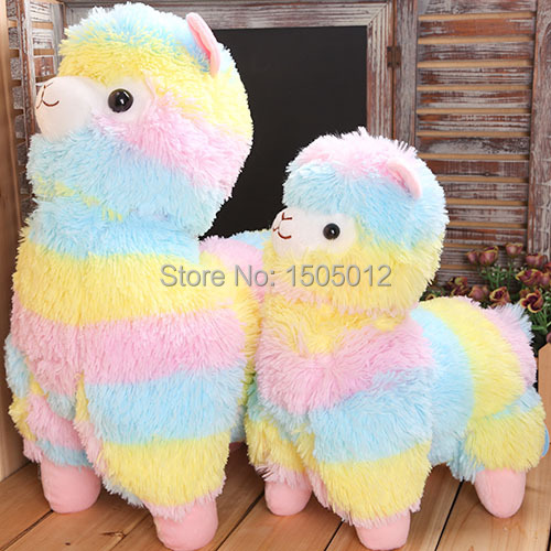 Rainbow Alpaca Plush Toy Japanese Soft Plush Alpacasso Baby 100% Plush Stuffed Animals Alpaca Gifts(China (Mainland))